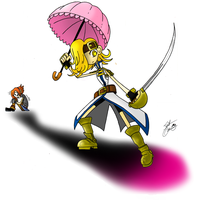 The Pink Hero and Her Parasol by theflamingalberto