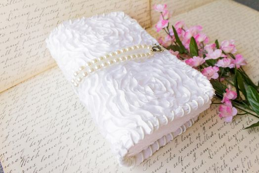White Flower Pearl Blank Book - Handmade by GoldCoinComics