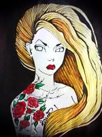 Swag blonde with tattoos by Alexandra-Mad