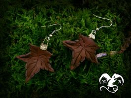 Leaves earrings 2 by Noir-Azur