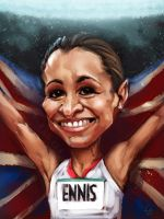 Jessica Ennis Caricature Portrait by Brainfruit