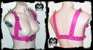 Pink Chest Harness with Studs and Spikes by annaladymoon