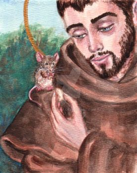 St. Francis and the Mouse by Theophilia