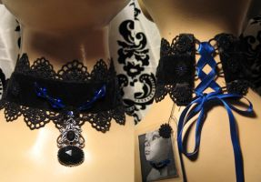 black and blue choker by trich