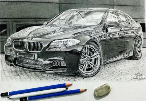 BMW M5 car drawing by Hannaasfour