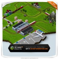Trains, Ships and Airplane - Isometric Map Icons by templay-team