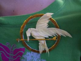 Hunger Games hand made origami pin by cheesecube123