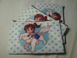 Korra and Naga Cosmetic/Pencil Bags by michielynn