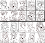 B/W OC Sketch Collage by Sotherin