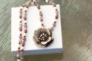Silver Flower on Pink and White Necklace by lgriffis