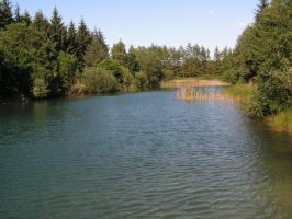 A pond with sky-blue water 2 by stock1-2-3