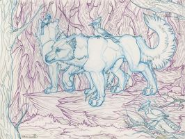 Wolves and BlueJays: on the prowl by toshema
