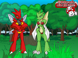 Scyther and Scizor Nin10Doh BG by Joeboxes