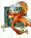 Firebird and cherries by teriathanin