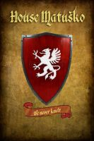 Grb I Geslo :shield and motto We never knelt by Sedeslav