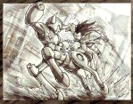 Centaur Man vs. Raditz by XCBDH