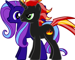 by bff's pony lalamoonsong and my oc pony flame by shadowandtwilight
