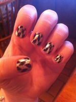 Black and Gold Nail Art by ineedacat9