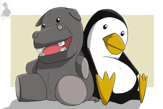 Hippo and Penguin by bySeri