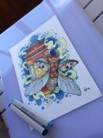 Tattoo design -Beatle and lantern by Xenija88