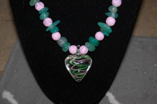 Pink and Green Glass Heart by xmemoriesXofXnobodyx