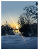 Snowy Sunset - Background by MadameNyx