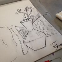 Vase and Fish Tail Still Life by AbbyCatWolff