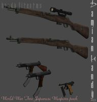 Japanese WWII Weapons Pack for XPS and XNALara by DamianHandy