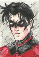 Nightwing Sketch Card by Graymalkin2112