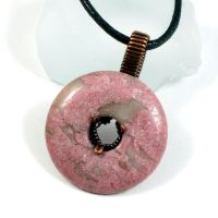 Rhodonite Donut Spinner Pendant by sylva