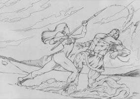 red sonja fight scene pencil by jefterleite