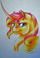 Headshot - Sunset Shimmer by jessi-dragon-rider