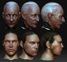 2 heads sculpting practice by pixelchaot