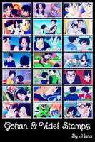 Gohan and Videl Stamps by hanakt