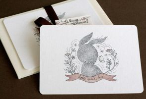 Whimsical Rabbit Notecards Set by yeevon