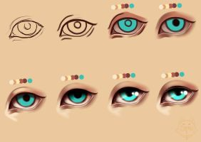 How to paint simple semi realism eyes + PSD file by PrinceCaeruu