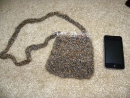 Crocheted Light Brown Pouch by ChallengeSakana