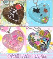 Resin Heart Necklaces by bapity88