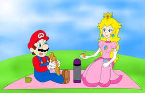 Mario and Peach Picnic by ZeFrenchM