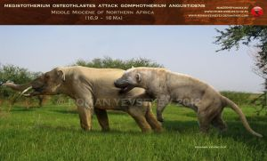 Megistotherium attacks Gomphotherium by RomanYevseyev
