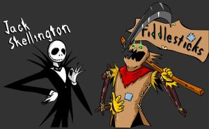 jack skellington and fiddlesticks by tualvanuel