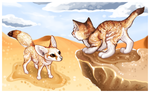 001 - Sand fox and a fennec cat by SheriBonBon