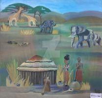 Painting African village by nikita6669