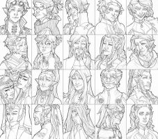 a bajillion elf portraits by questionstar