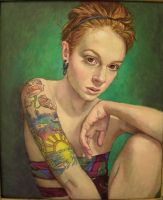 Girl with tattoo..oil on linen by xxaihxx
