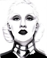 (Pencil drawing) Christina Aguilera - Bionic by LinaKaye
