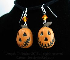 Jack'O Lantern  Halloween Earrings by carmendee
