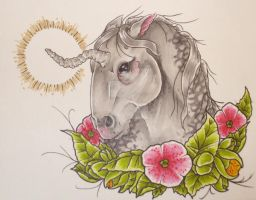 grey unicorn by willowtreetattoos
