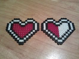 Perler LoZ Heart Containers by FallenAngelKrisi