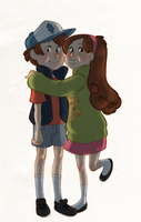 Mabel and Dipper by onone-chan
